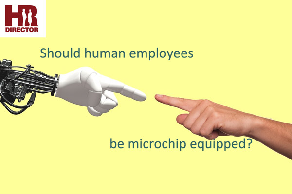 A robot arm and a human arm reach out to touch to symbolize chip-based HR automation