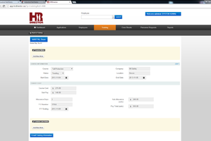Screenshot of training page example